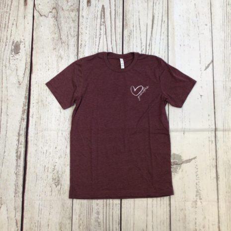 My Cheeky Baby Grandma Heart Maroon Woman's T-Shirt