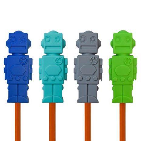 Munchables Robot Pencil Toppers 4 pk - Navy/Aqua/Grey/Green