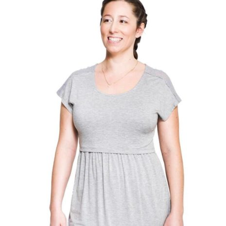 Momzelle Florence Top - Light Heather Grey