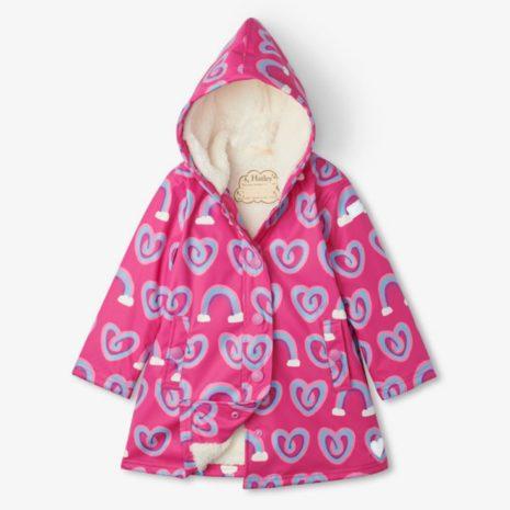 Hatley Twisty Rainbow Hearts Sherpa Lined Splash Jacket