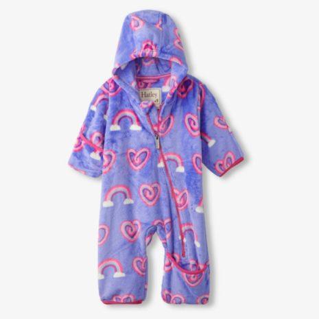 Hatley Twisty Rainbow Hearts Fuzzy Fleece Baby Bundler